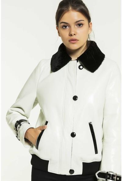 Black Noble Jennifer Kadın Kolej Beyaz Kürklü Deri Ceket