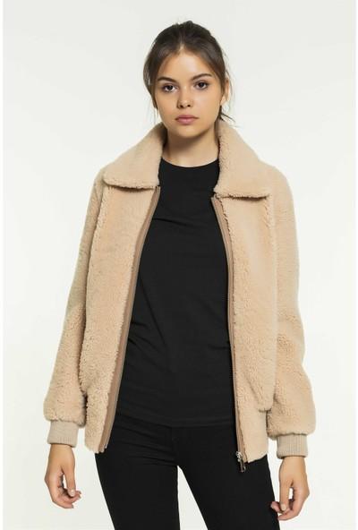 Black Noble Nela Kadın Kolej Somon Kürklü Deri Ceket