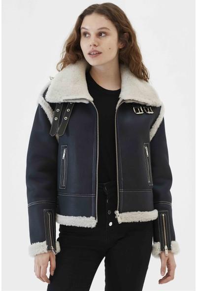 Black Noble Nelly Kadın Biker Koyu Gri Kürklü Deri Ceket