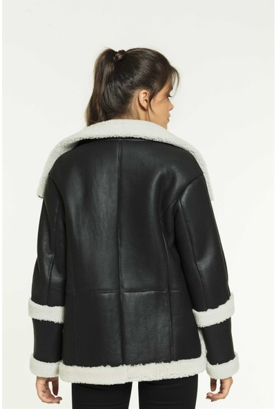 Black Noble Ellen Kadın Salaş Koyu Gri Kürklü Deri Ceket