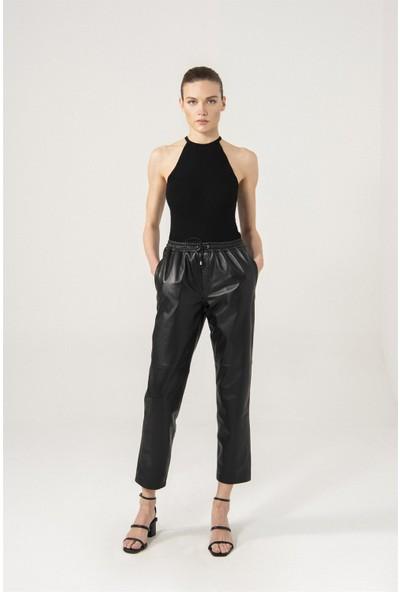 Black Noble Sienna Siyah Bel Lastikli Pantolon
