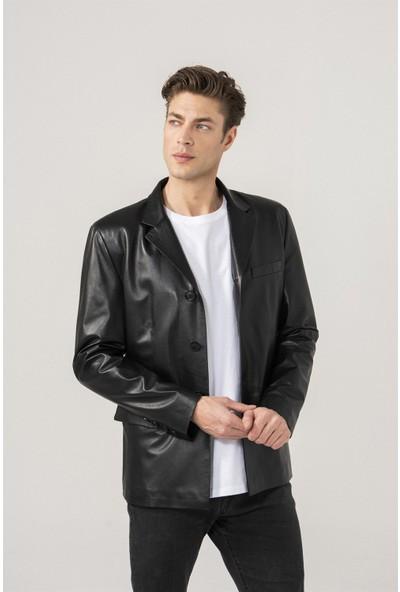 Black Noble Derek Klasik Siyah Deri Blazer Ceket