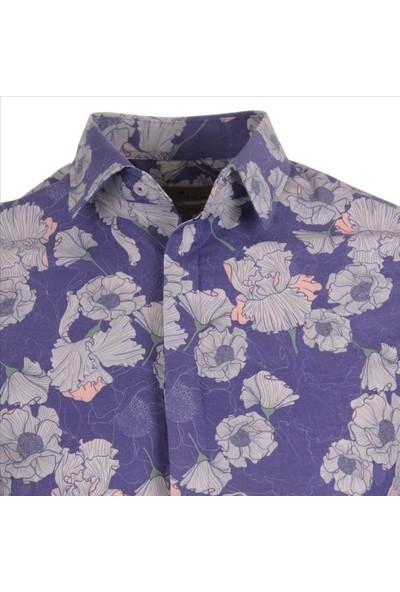 Gentilbay Vintage Çiçek Bitki Orman Mor DPD180 Pamuklu Spor Erkek Gömlek