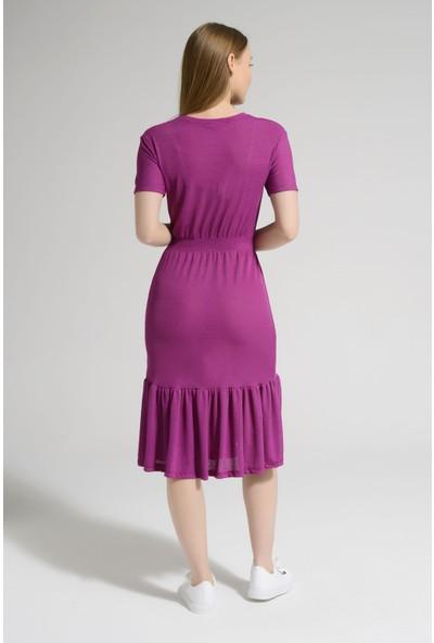 Guzz Fuşya Renk Günlük Elbise