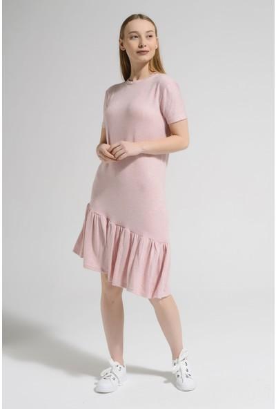 Guzz Pudra Renk Günlük Elbise