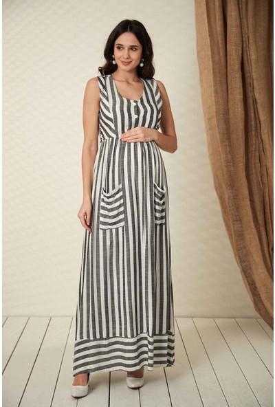 Görsin Uzun Çizgili Hamile Elbise