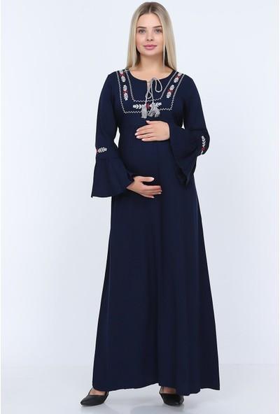Görsin Nakış Detaylı Uzun Hamile Elbise