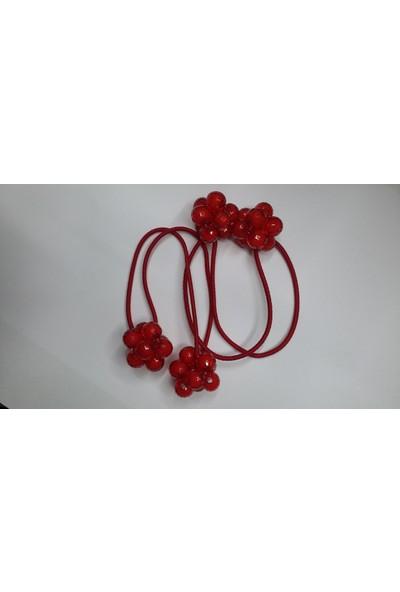 Tokacım Boncuklu Saç Lastiği (Kırmızı Renk)