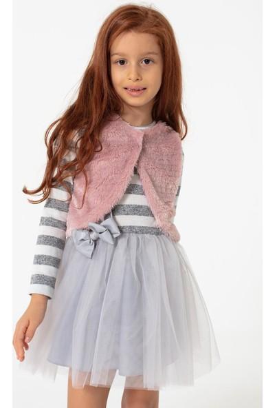 Colorinas Pretty Çizgili Elbise Gri
