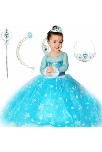 Duha Elsa Kostüm Tarlatanlı Frozen Elsa Anna Karlar Ülkesi Simli Kostümü