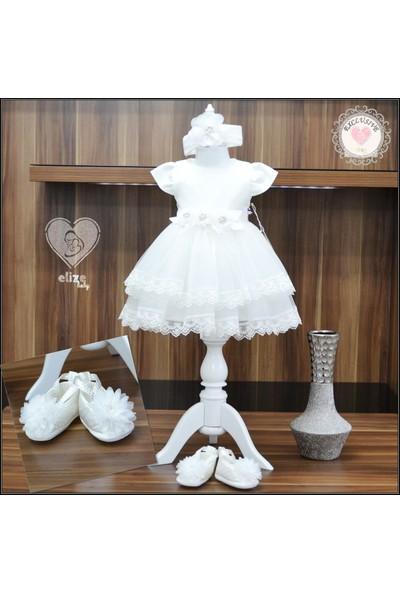 Lili Poupee Kız Bebek Krem Elbise 3'lü Set 3-6 Ay