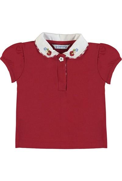 Mayoral Kız Bebek Nakışlı Polo Yakalı Tişört Kırmızı 1167 36 Ay