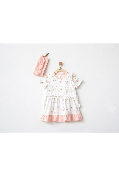 Andywawa Kız Bebek Bandanalı Çiçekli Elbise Ekru AC20507 24 Ay
