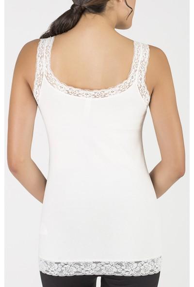 Penti Kırık Beyaz Basic Dantelli Askılı Bluz