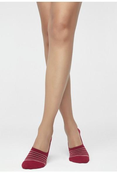 Penti Vişne Shiny Striped Babet Çorabı