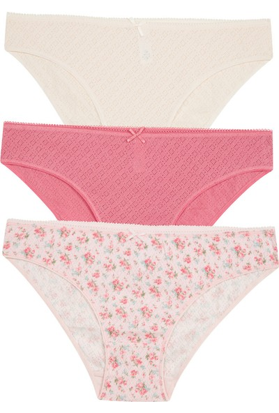 Penti Çok Renkli Soft Pointel Floral Printed 3'lü Slip