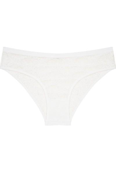 Penti Beyaz Lacy Slip Külot