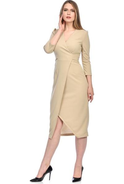 İroni Kruvaze Yırtmaçlı Bej Elbise