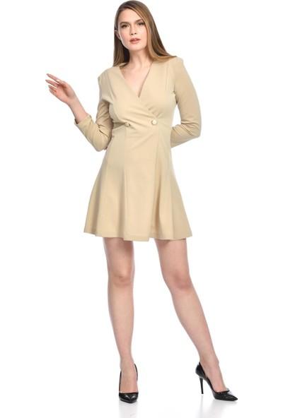 İroni Kruvaze Yaka Krep Mini Bej Elbise