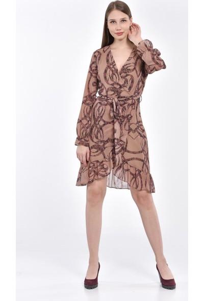 İroni Desenli Kamel Mini Elbise