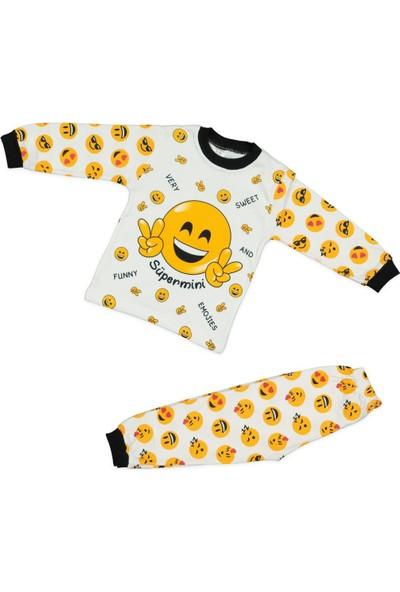 AlpCollection Sarı Gülen Surat Emoji Çocuk 2li Pamuklu Pijama Takım