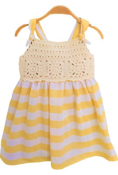 Pacco Baby El Örgüsü Sarı Çizgili Askılı Elbise