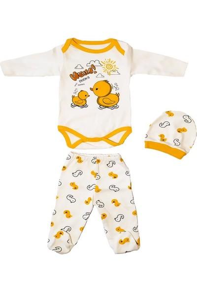 AlpCollection Sarı Ördek Baskılı 3lü Bebek Pamuklu Body Badi Set