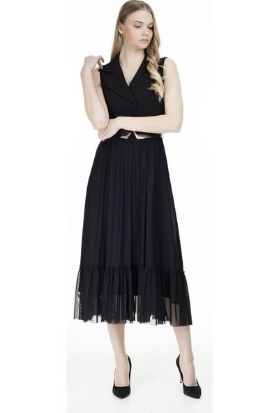 Ekol Kruvaze Yaka Elbise Kadın Elbise 0236200