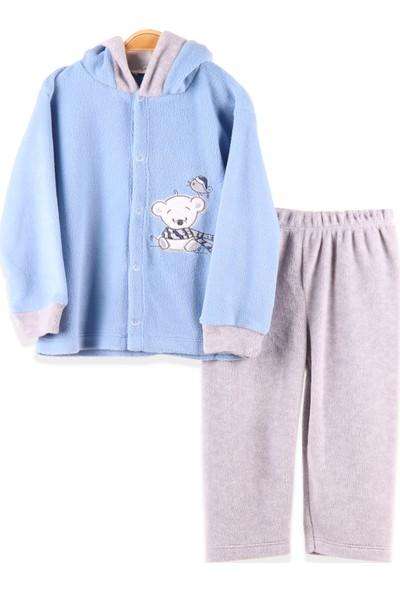 Breeze Erkek Bebek Eşofman Takımı Polar Ayıcıklı Mavi (4-12 Ay)
