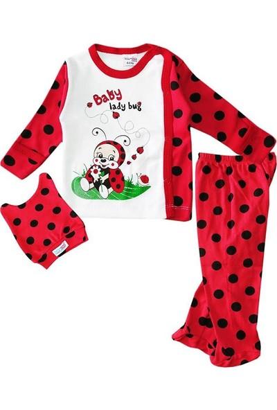 Babycan 1199 Kız Bebek Body Zıbın Takım 0-3 Ay Kırmızı