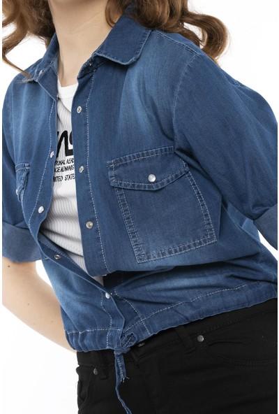 Hds Hadise Kot Mavi Eteği Bağlamalı Çıtçıtlı Kot Gömlek 3460