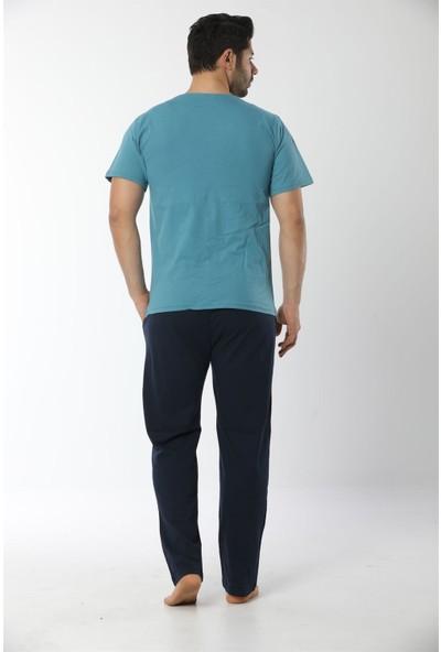 Akbeniz Erkek Petrol Renk Önden Düğmeli Pijama Takım 6538