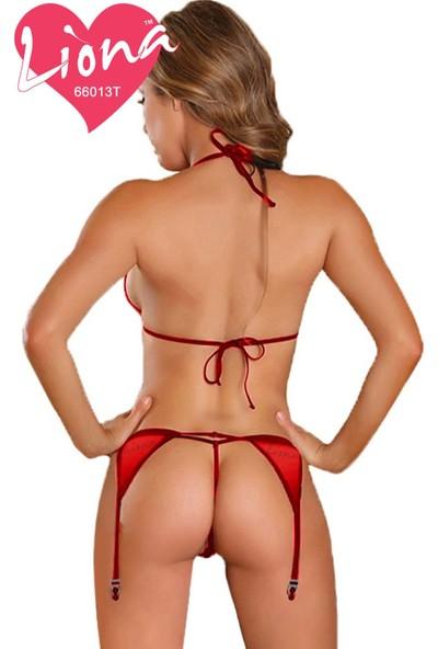 Liona Kırmızı Jartiyerli Fantezi İç Giyim