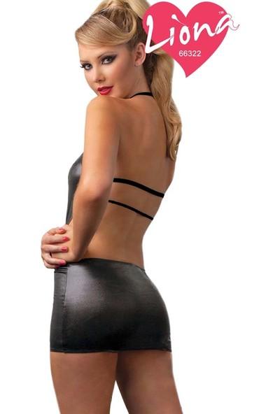 Liona Deri Görünümlü Jartiyerli Mini Siyah Elbise