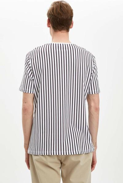 DeFacto Erkek Çizgili Regular Fit T-Shirt