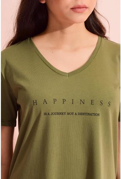 Tena Kadın Haki V Yaka Yanı Yırtmaçlı Happiness Baskılı Tunik 0YBT1062-01