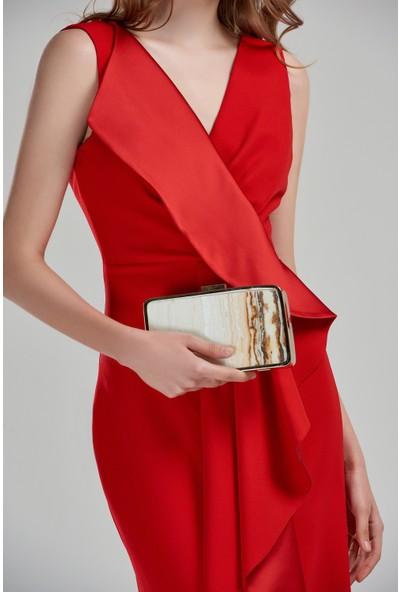 Beyaz Butik Kırmızı V Yaka Yırtmaçlı Volanlı Balık Abiye Elbise