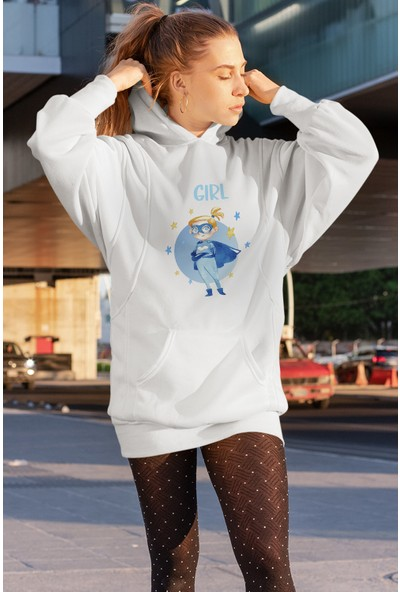 Angemiel Wear Fight Like a Girl Beyaz Elbise Sweatshirt Tunik