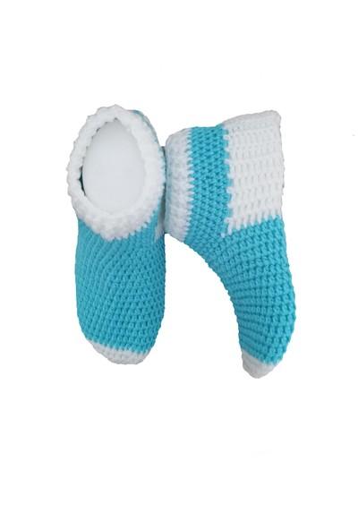 Nuh Home El Yapımı Erkek Çorap Mavi Beyaz Renk Çorap 22