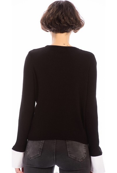 Cotton Mood 8506003 İnce Fitilli Kaşkorse Manşeti Garnili Uzun Kol Bluz Sm