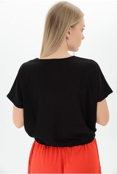 Miss Lusi 9112933 Raşel Eteği Kordonlu V Yaka Yarasa Kol Bluz L