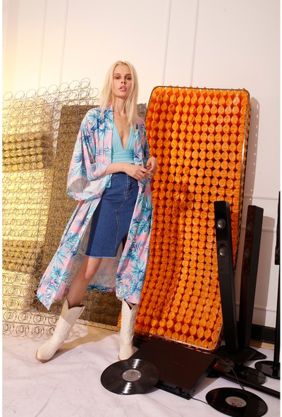 Rivus Beli Kuşaklı Desenli Kimono