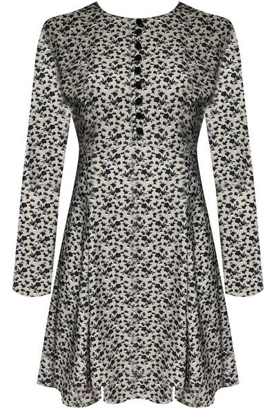 Rivus Çiçek Desenli Düğmeli Mini Elbise