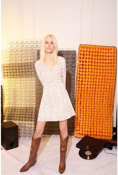 Rivus V Yaka Biber Desenli Elbise