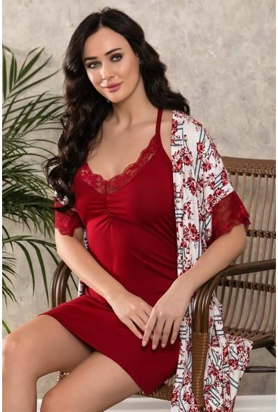 Lingabooms 1017 Kadın Çiçekli Askılı Kısa Gecelik Sabahlık Takım S