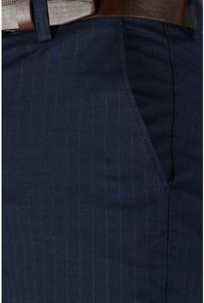 Terapi Men Erkek Çizgi Desenli Keten Pantolon 20K-2200259 Lacivert 31