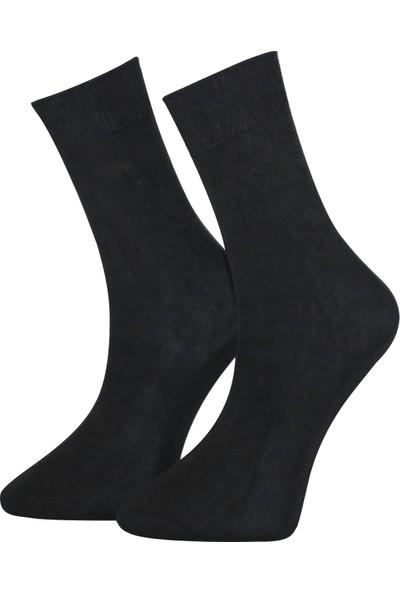 Adabella 12 Çift Siyah Erkek Bambu Dikişsiz Çorap