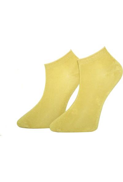 Adabella 12 Çift Hardal Sarı Erkek Bambu Dikişsiz Soket Kısa Çorap