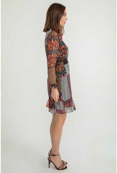 Foremia Kadın Pach Desen Kısa Şifon Elbise