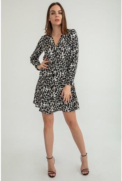 Foremia Kadın Zebra Desen Eva Saten Elbise